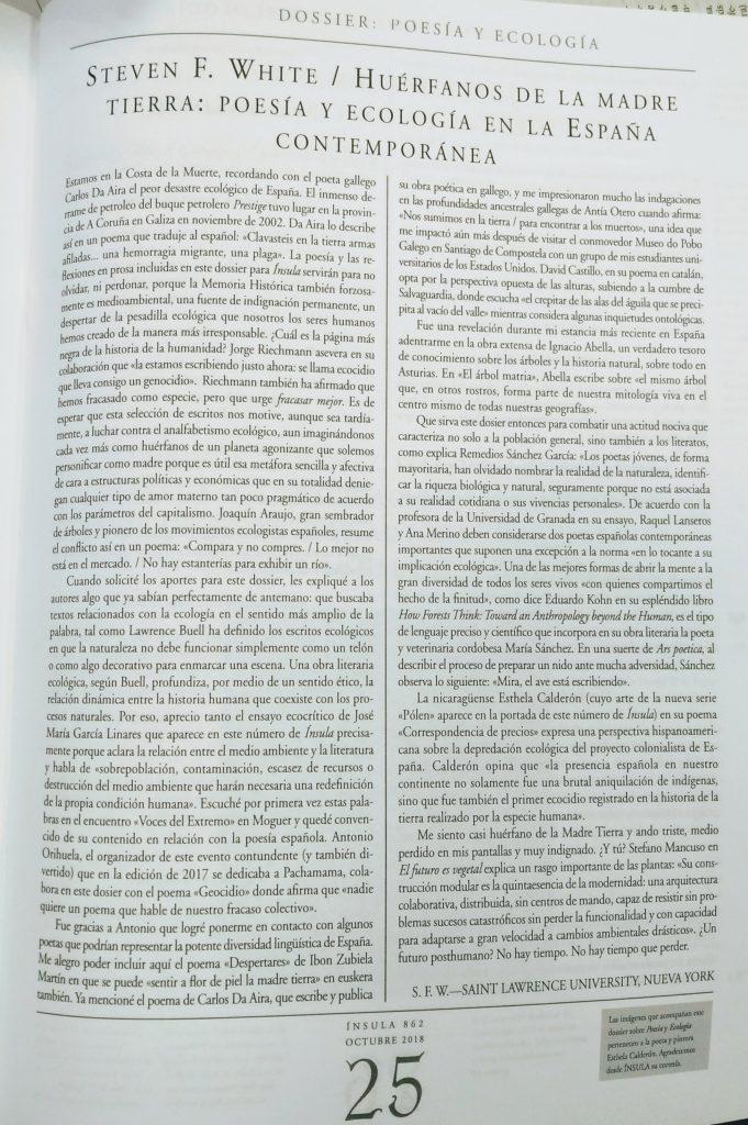Steven White POESÍA Y ECOLOGÍA EN LA ESPAÑA CONTEMPORÁNEA 2018