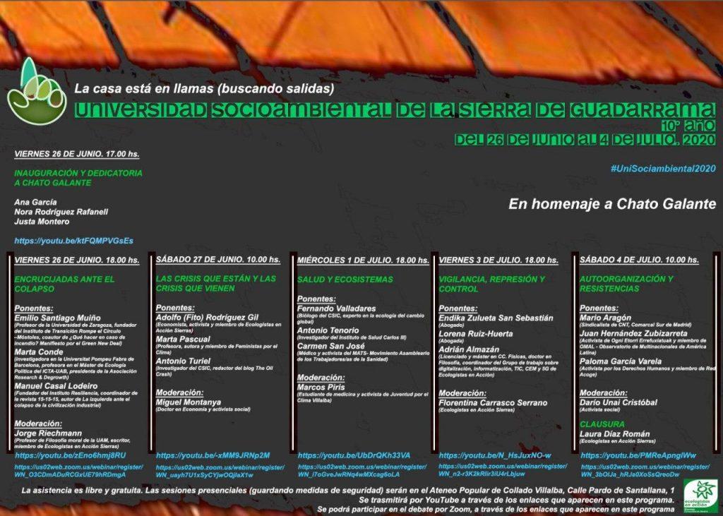décima univ. socioambiental de la Sierra de Guadarrama, 26 junio a 4 de julio 2020