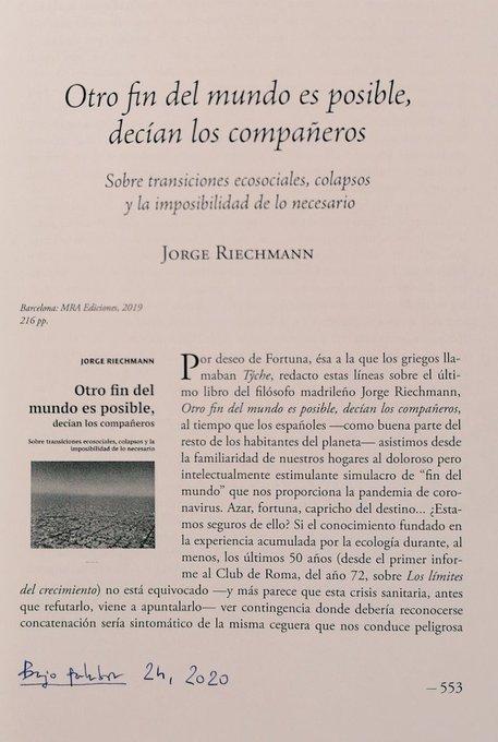 reseña de Raúl Garrobo sobre OTRO FIN DEL MUNDO..., 1