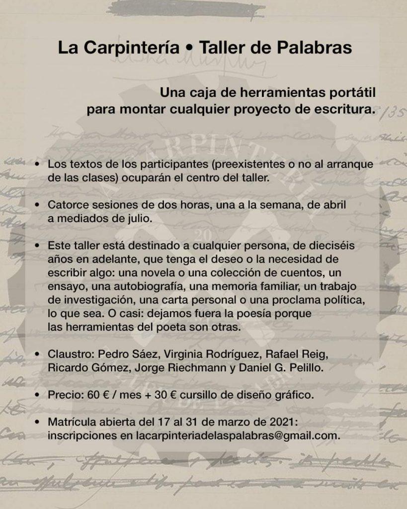 TALLER DE PALABRAS marzo 2021