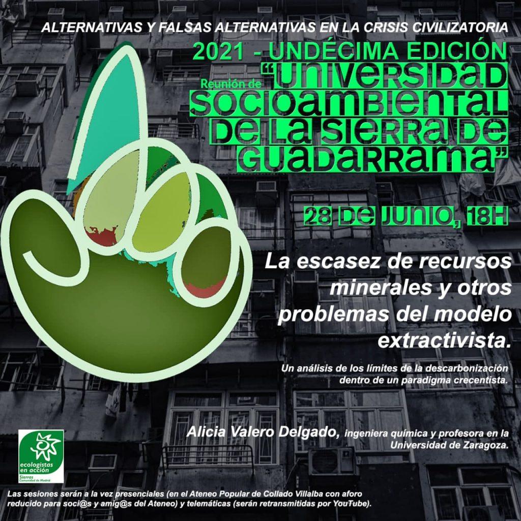 cartel Undécima Univ. Socioambiental de la Sierra, sesión 28 de junio